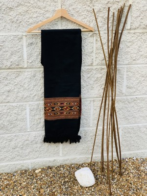 Woollen Embroidery Scarf: Black with Thick Red Geometrical Pattern