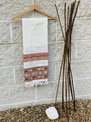Woollen Embroidery Scarf: White with Multicolor Geometrical Pattern