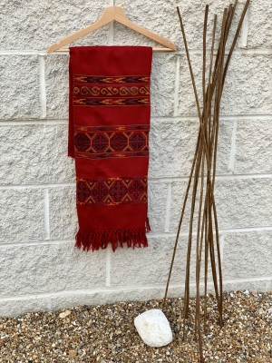 Woollen Embroidery Scarf: Red with Multi Coloured Layered Geometrical Pattern