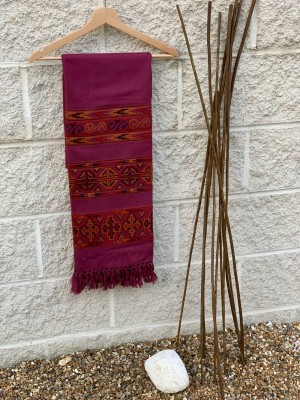 Woollen Embroidery Scarf: Magenta with Multi Coloured Layered Geometrical Pattern